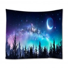 Goodbath Starry Forest Tapestry, Milk Way and Moon in Night Sky Wall Tapestries Hangings for Bedroom Living Room Dorm,80W x 60L Inch