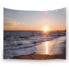 "Goodbath Ocean Beach Tapestry Wall Hanging, Coast at Sunrise Time Fabric Wall Hangings, 80"" x 60"", Orange Blue Brown"