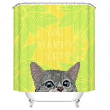 "Goodbath Cute Cat Kitty Shower Curtain, Quotes "" You Happy Yet"" Pattern, Water Free Mildew Free Fabric Bathroom Curtains, 72 x 72 Inch, Green (Green)"