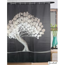 Goodbath Bathroom Tree of Life Polyester Shower Curtains, 72 X 72 Inch, Gray
