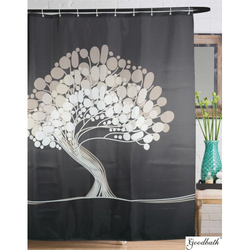Goodbath Bathroom Tree Of Life Polyester Shower Curtains 72 X Inch Gray