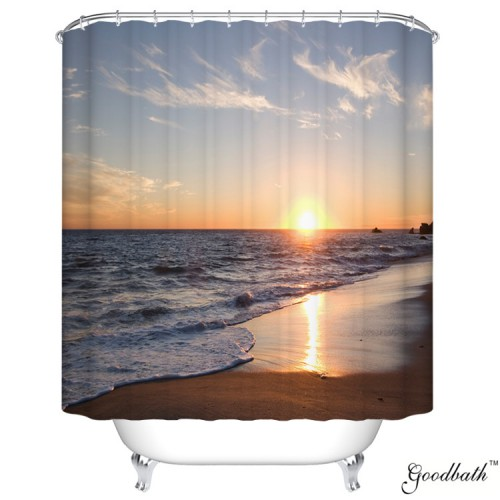 Goodbath Extra Long Shower Curtains Ocean Waves Beach Sunset Design Fabric Bathroom Curtain 72 X 84