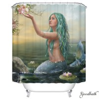 Goodbath Mildew Free Water Repellent 100% Polyester Shower Curtains Liner, Mermaid Pattern (72 x 78 Inch)