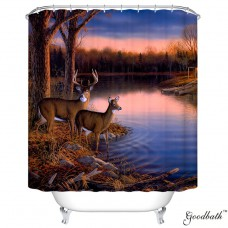 Goodbath River Edge Deer Tree Forest Design Blue Sky Mildew Resistant Waterproof Fabric Polyester Shower Curtains Liner 66 x 72 Inch (Elk)