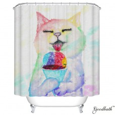 Goodbath Funny Cat Eating Fish Pattern Mildew Resistant Waterproof Fabric Polyester Shower Curtains Liner 66 x 72 Inch (Cat)