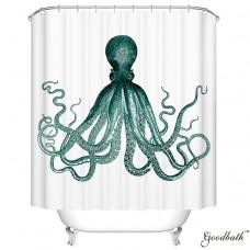 Goodbath Octopus Print Kraken Ocean Mildew Resistant Waterproof 100% Polyester Fabric Shower Curtains, Green and White (66 x 72)
