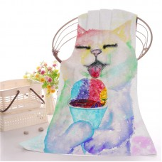 Goodbath Custmer Printed Bath Beach Towels Polyester Absorbent Washcloth Towels, 27.6 x 59 Inch ,Colorful (Colorful Cat)