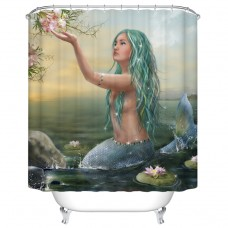 Goodbath Mermaid Lotus Shower Curtains,Mildew Free Water Repellent, 100% Polyester, (72 x 72 Inch)