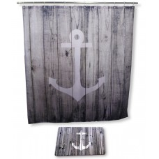 Goodbath Bathroom Set with Shower Curtain and Bath Rugs and Accessories, Anchor Design , 72 x 72 Inch, Grey White